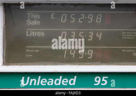 display of an old petrol pump dispenser - Stock Photo