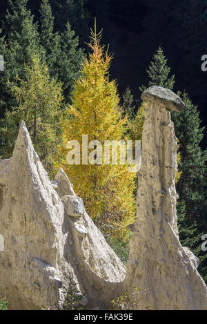 Earth pyramids in Percha, South Tyrol, Italy - Stock Photo