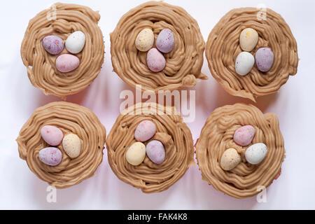 Homemade chocolate egg nest cakes set on white background - Stock Photo