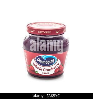Jar Of Ocean Spray brand Whole Berry Cranberry Sauce on a White Background - Stock Photo