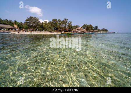 Beach on the small island Gili Air, Lombok, Indonesia, Asia - Stock Photo