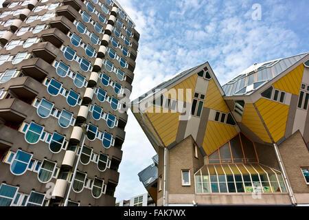Cubic Houses or Kubuswoningen (Kijk Kubus), designed by the architect Piet Blom. Pencil Building. Architecture. - Stock Photo