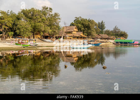 outrigger canoes at the beach on the small island Gili Air, Lombok, Indonesia, Asia - Stock Photo