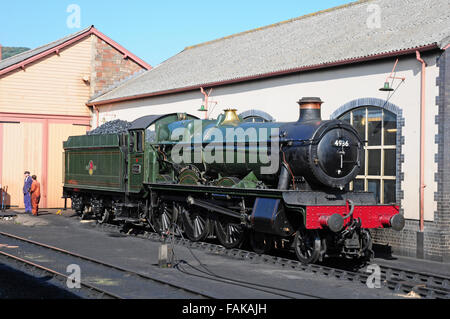 Restored steam engine at Minehead Station, West Somerset Steam Railway. - Stock Photo