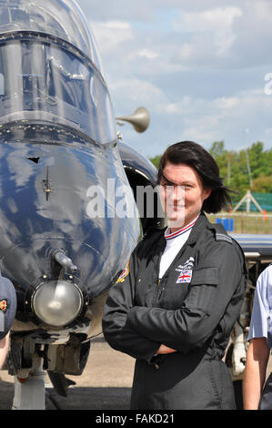 Juliette Fleming (now Thurston) is pictured here when she took on the role as the RAF's Hawk solo display pilot - Stock Photo