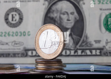 coin euro on the background bill dollar - Stock Photo