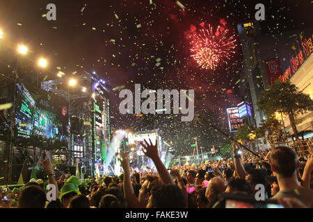 Bangkok, Thailand. 31st Dec, 2015. New Year Fireworks at Central World Street Party in Bangkok Credit:  Steven White/Alamy - Stock Photo
