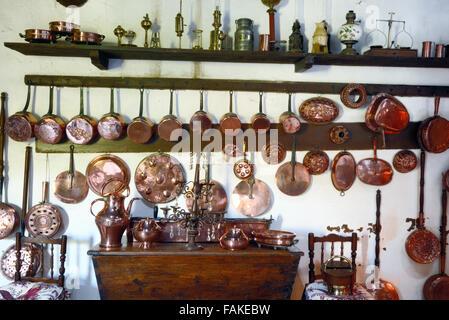 Copper Kitchen Utensils in the Old Kitchen of La Barben Château, Chateau or Castle, La Barben, Provence, France - Stock Photo