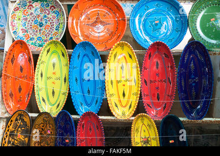 earthenware in tunisian market - Stock Photo