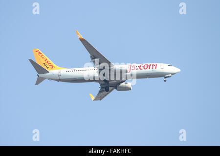 Pegasus Asia Airlines Boeing 737-82R (CN 38178/4023) landing to Sabiha Gokcen Airport. - Stock Photo