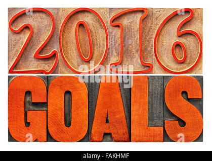 2016 goals banner - New Year resolution concept - isolated text in vintage letterpress wood type printing blocks - Stock Photo