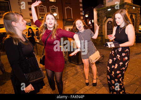 Aberystwyth  Wales UK, 1 January 2016  A group of happy young women girls  out on the streets  celebrating the 2016 - Stock Photo