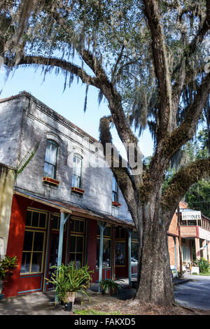 Florida Micanopy Historic District Cholokka Boulevard small town businesses buildings main street Spanish moss - Stock Photo