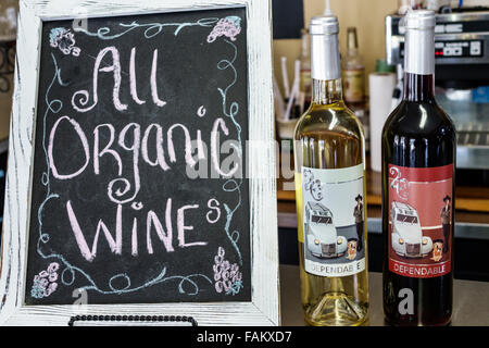 Florida Micanopy Historic District Cholokka Boulevard Old Florida Cafe organic wine sale display shopping - Stock Photo