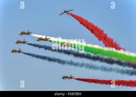 Al Fursan at Al Ain Air Show 2015 in Al Ain, UAE - Stock Photo