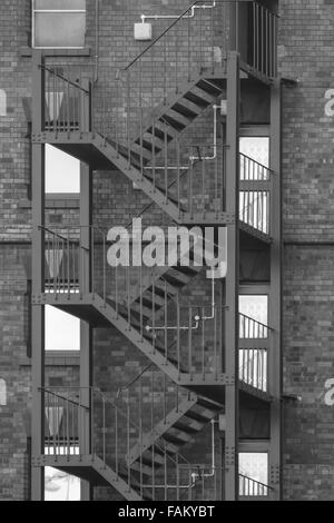 Metal fire escape on the outside of a building in canons marsh bristol - Stock Photo