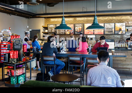 Gainesville Florida SE 1st Street Starbucks Coffee cafe inside - Stock Photo