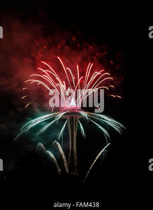 Seattle, USA. 01st Jan, 2016. Fireworks display at midnight 2016 Seattle USA Space Needle New Year's day Credit: - Stock Photo