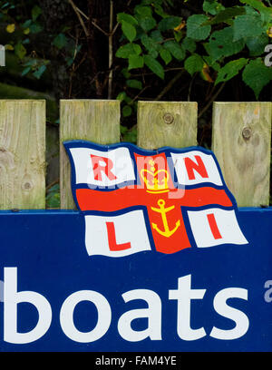 Royal National Lifeboats Institute ( RNLI ) Sign, The Lizard Lifeboat Station, Lizard Peninsula, Cornwall, England, - Stock Photo