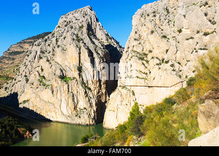 General view of  Caminito del Rey  in rocky mountains. Andalusia, Spain - Stock Photo