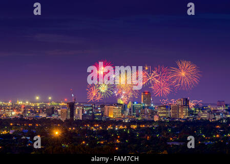 New Year Fireworks display in Adelaide, South Australia - Stock Photo