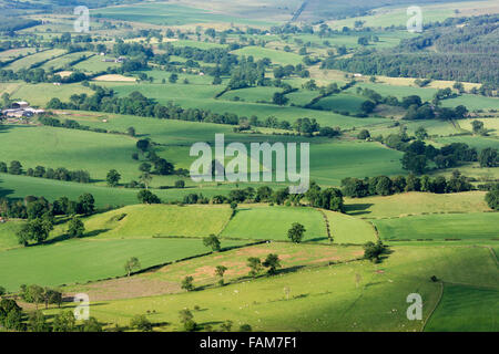 Countryside in the Eden Valley, Cumbria, showing farmland and woodland from the air. - Stock Photo