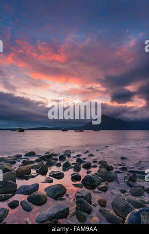 Sunset at Elgol Beach, Isle of Skye, Scotland - Stock Photo