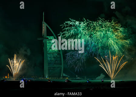 New Year 2015 Fireworks in Dubai, UAE - Stock Photo