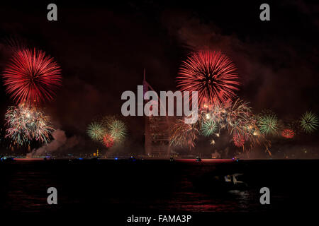New Year 2015 Fireworks in Dubai, UAE Stock Photo
