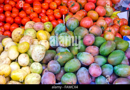 Various fruits and vegetables in the market stall, Spain - Stock Photo
