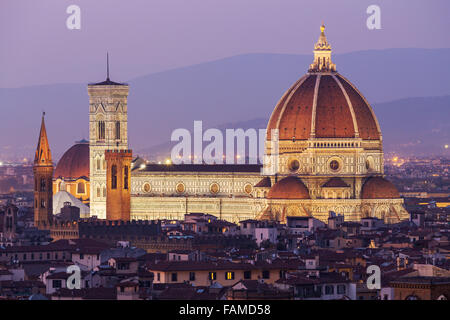 Florence Cathedral, historic centre at dusk, Florence, Tuscany, Italy - Stock Photo