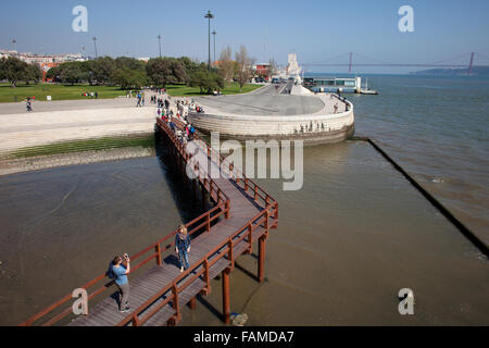 Portugal, city of Lisbon, Belem district, wooden footbridge, park and promenade along Tagus (Tejo) river waterfront - Stock Photo