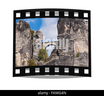 View to the Rock formation Bastei (Bastion), Saxon Switzerland, Elbe Sandstone Mountains, Saxony, Germany, Europe - Stock Photo