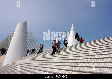 L'Umbracle in Astronomy gardens. A landscaped walk in the City of Arts and Sciences in Valencia, Spain. - Stock Photo