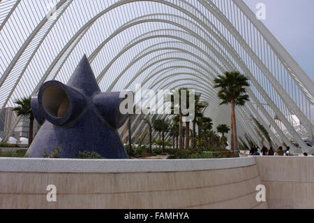 L'Umbracle - a landscaped walk in the City of Arts and Sciences in Valencia, Spain. - Stock Photo