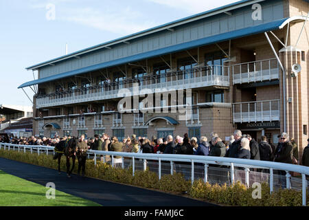 Grandstand and Parade Ring at Warwick Racecourse, UK - Stock Photo