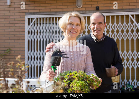 Elderly woman with horticultural sundry and aged man drinking tea in patio - Stock Photo