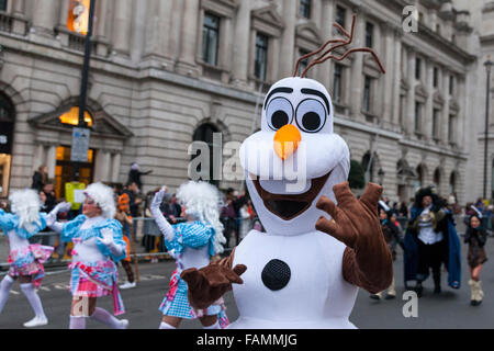 London, UK. 1st January, 2017 A Mr Snowman performer at the 30th annual London's New Year's Day Parade, LNYDP 2016. - Stock Photo
