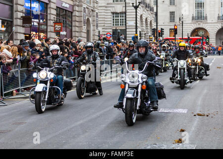 London, UK. 1st January, 2016. The Chelsea and Fulham Harley Owners Group ride down Regent Street at the 30th annual - Stock Photo