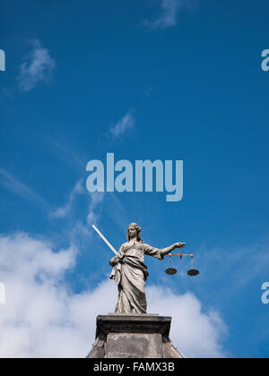 Lustitia, Lady Justice, Statue, Dublin Castle, Dublin, Ireland - Stock Photo