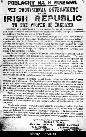 Easter Rising, The Proclamation of the Provisional Government of the Irish Republic issued at the GPO in Dublin - Stock Photo