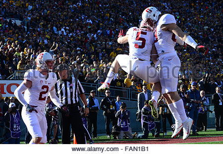 Pasadena, California, USA. 01st Jan, 2016. Stanford running back CHRISTAN MCCAFFREY (5) celebrates after a 75 yard - Stock Photo