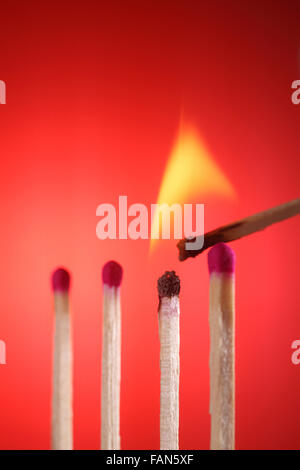 Light match near row of unlit matches - Stock Photo