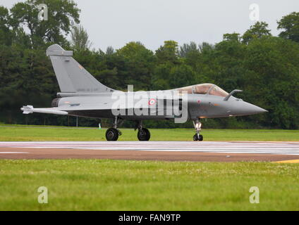 The French Dassault Rafale on the runway at the Royal International Air Tattoo 2012 - Stock Photo