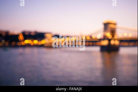 Chain bridge in the evening. Budapest, Hungary - Stock Photo