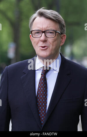 London, UK, 10th May: Labour politician Lord Peter Mandelson at The Andrew Marr Show at Westminster in London, UK - Stock Photo