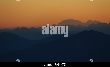 Beautiful morning in the Swiss Alps, view from the Brienzer Rothorn - Stock Photo