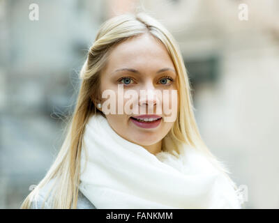Portrait of  beautiful woman in winter clothes outdoor - Stock Photo