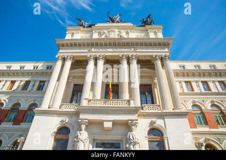 Facade of Ministry of Agriculture, view from below. Madrid, Spain. - Stock Photo