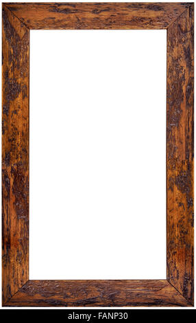 Vertical Wooden Picture Frame Isolated on White Background - Stock Photo